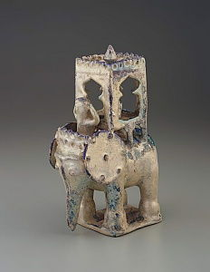Elephant with howdah and figure, Iran, Seljud dynasty (ceramic)