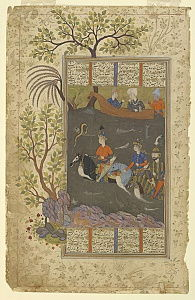 Kay Khusraw, Farangis and Giv cross the Jayhun from a Shahnama