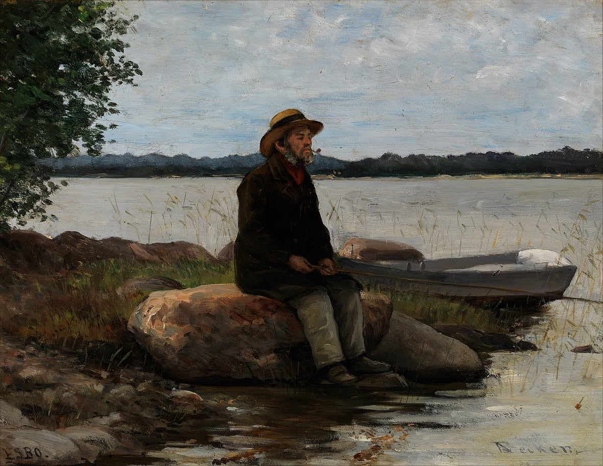 An angler by Adolf von Becker