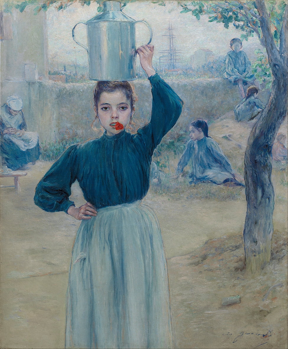 The Little Village Girl with Red Carnation by Adolfo Guiard y Larrauri