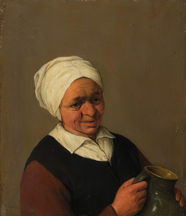 Old Peasant Woman Holding a Jug, c.1643 by Adriaen Jansz. van Ostade