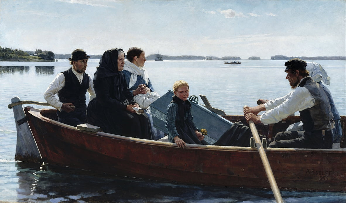 Conveying a Childs Coffin by Albert Gustaf Aristides Edelfelt