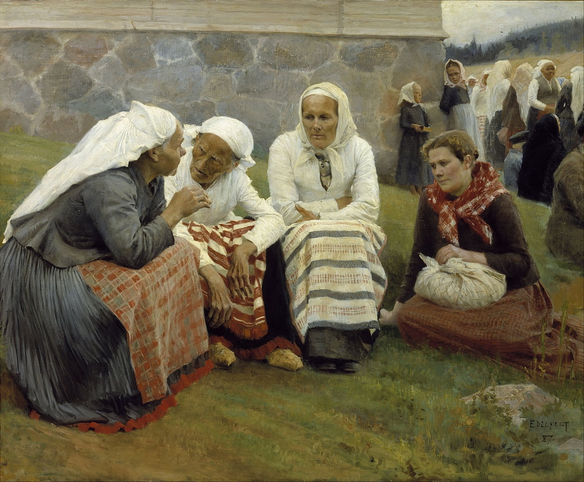 Women outside the Church at Ruokolahti by Albert Gustaf Aristides Edelfelt