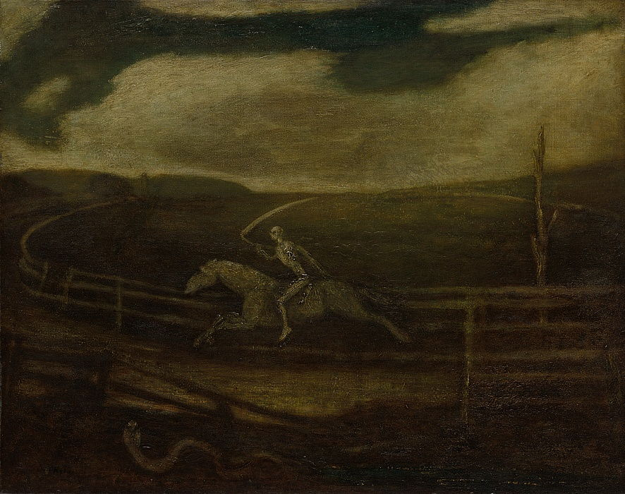 The Race Track Death on a Pale Horse, c. 1896-1908.  by Albert Pinkham Ryder