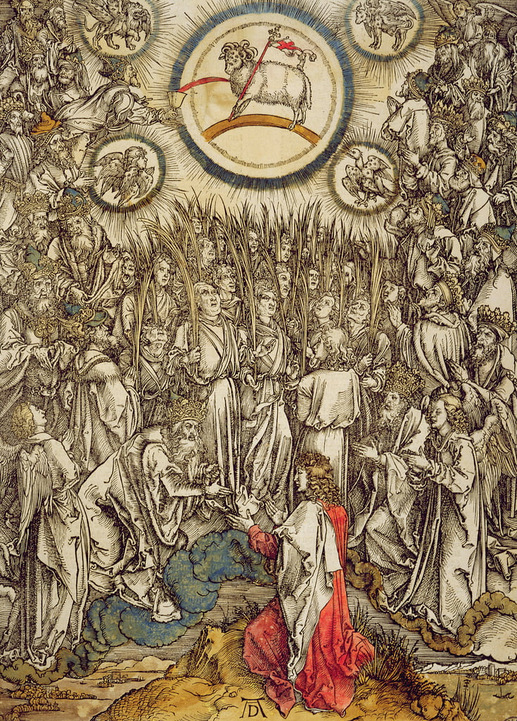 The Lamb of God appears on Mount Sion, 1498 (colour woodcut) by Albrecht Dürer