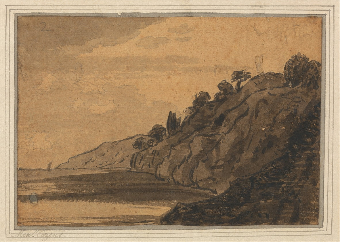 Coastal Scene with Wooded Cliff by Alexander Cozens