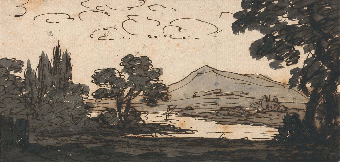 Landscape with Mountain and Lake by Alexander Cozens