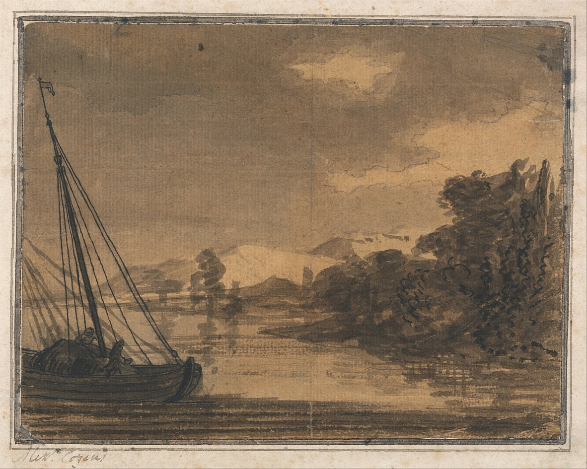 River and Boat by Alexander Cozens