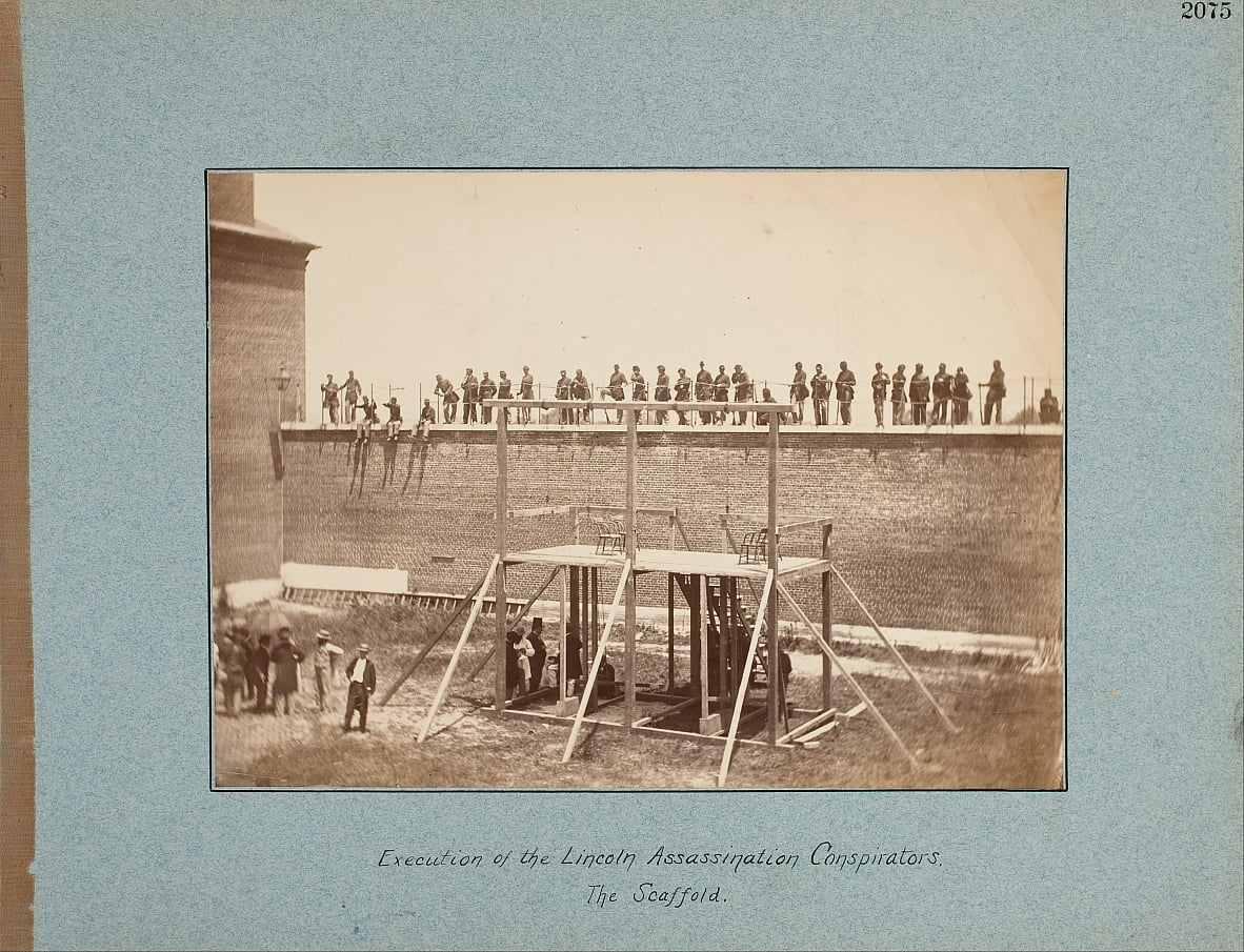Execution of the Lincoln Assassination Conspirators. The Scaffold. by Alexander Gardner