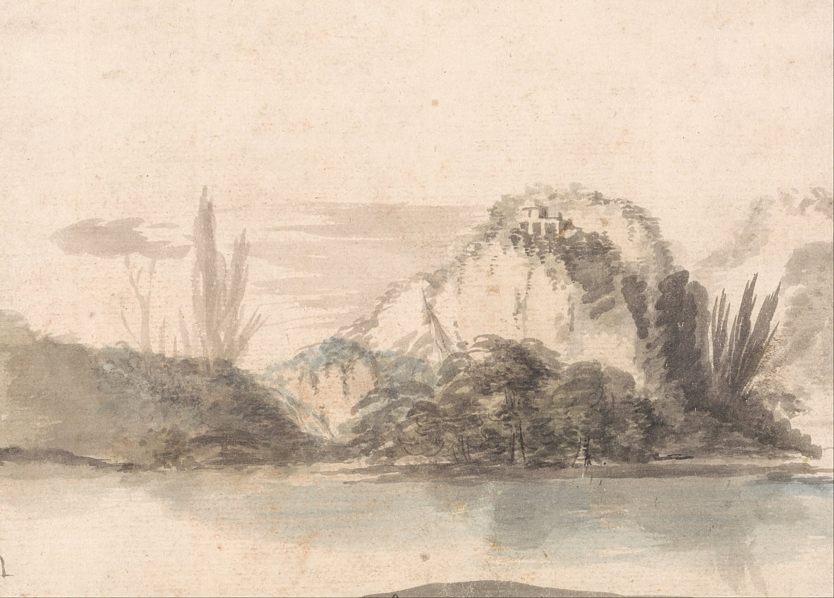 A Temple Perched on a Rocky Outcrop Seen Across a Lake by Alexander Runciman