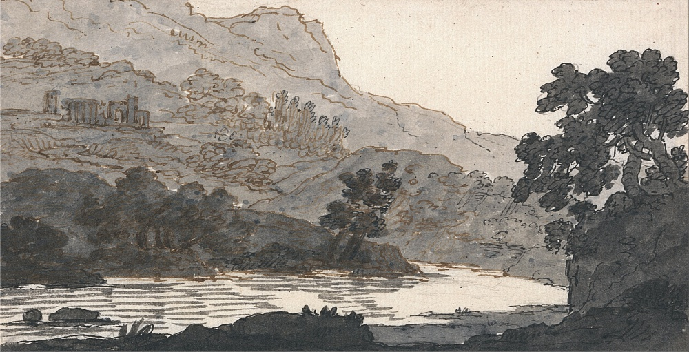River and Mountain, with Ruins by Alexander Cozens