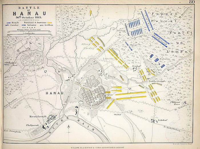 Map of the Battle of Hanau, published by William Blackwood and Sons, Edinburgh und London, 1848 (hand-coloured engraving) by Alexander Keith Johnston