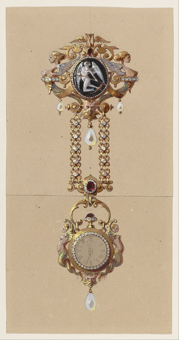 Design for a Chatelaine with Watch by Alexis Falize