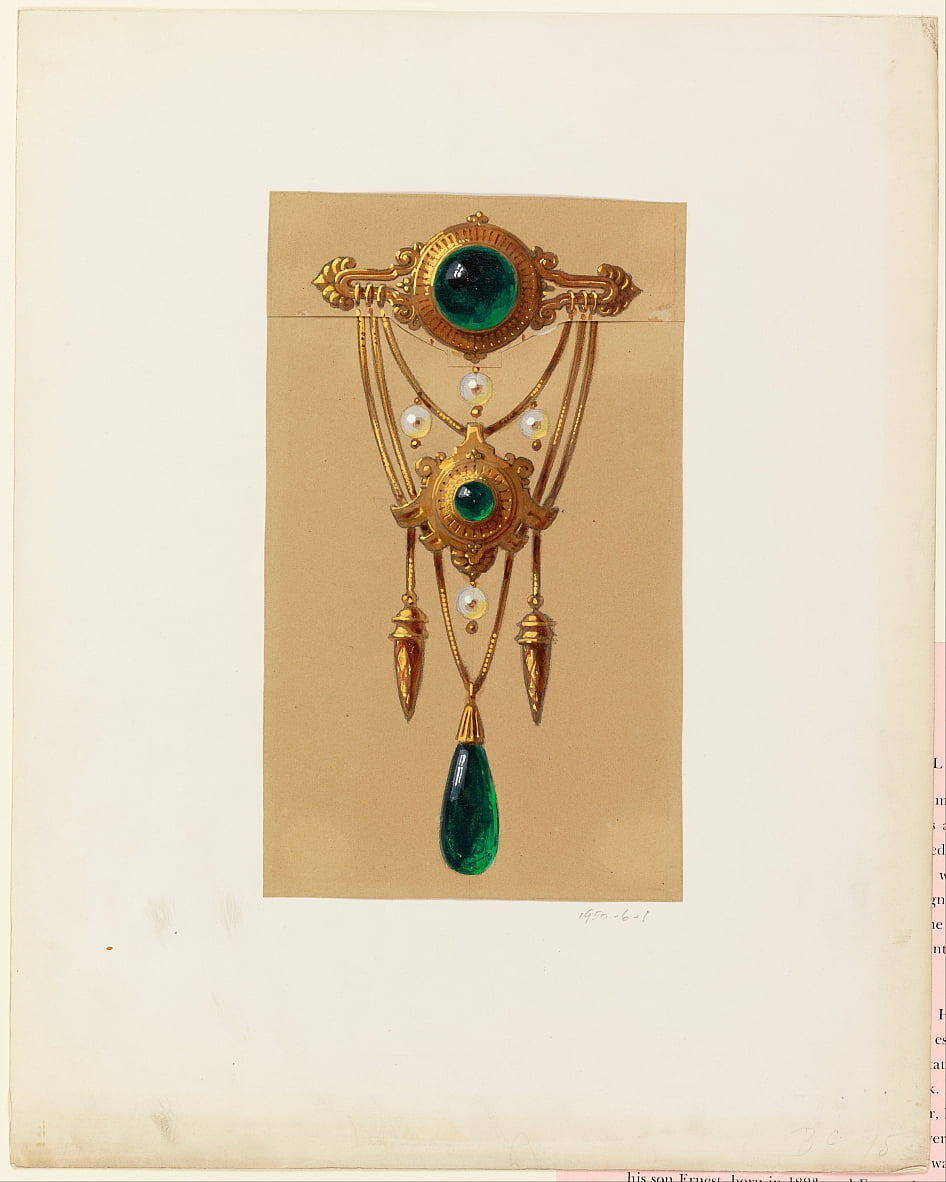 Design for a Gold and Cabochon Gem Brooch by Alexis Falize