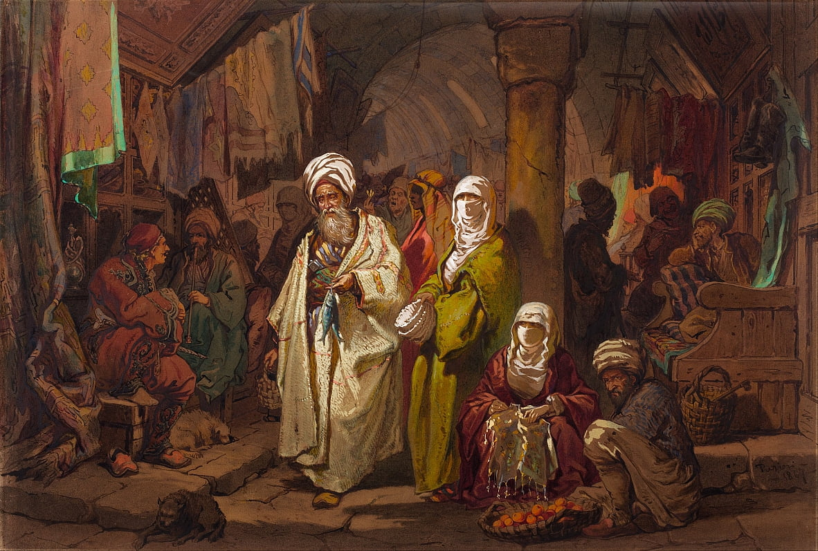 The Grand Bazaar by Amadeo Preziosi