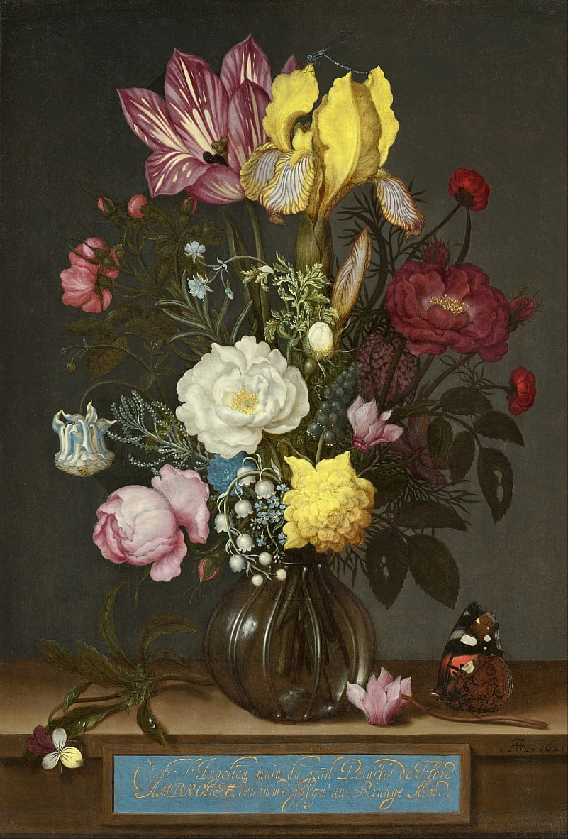 Bouquet of Flowers in a Glass Vase by Ambrosius the Elder Bosschaert