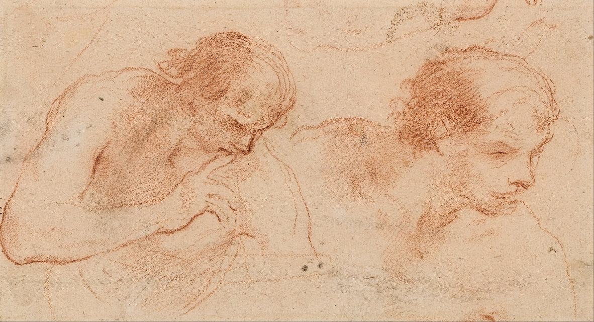 Two studies of the bust of a man turned towards the right by Andrea Sacchi