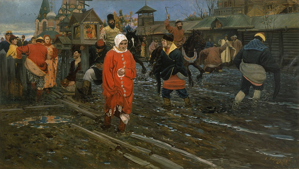 Seventeenth-Century Moscow Street on a Public Holiday, 1895 by Andrei Petrovich Ryabushkin