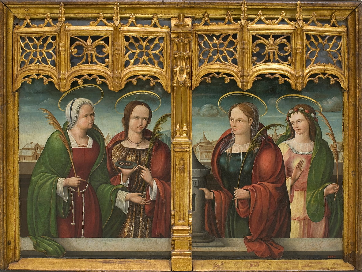 Saints Apollonia, Lucy and Barbara and another Holy Martyr by Andrés devMelgar