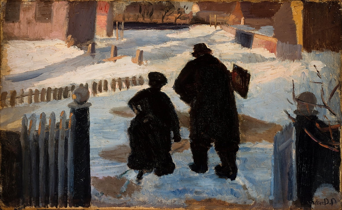 Michael Ancher on his way to his studio accompanied by the organist Helene Christensen by Anna Ancher