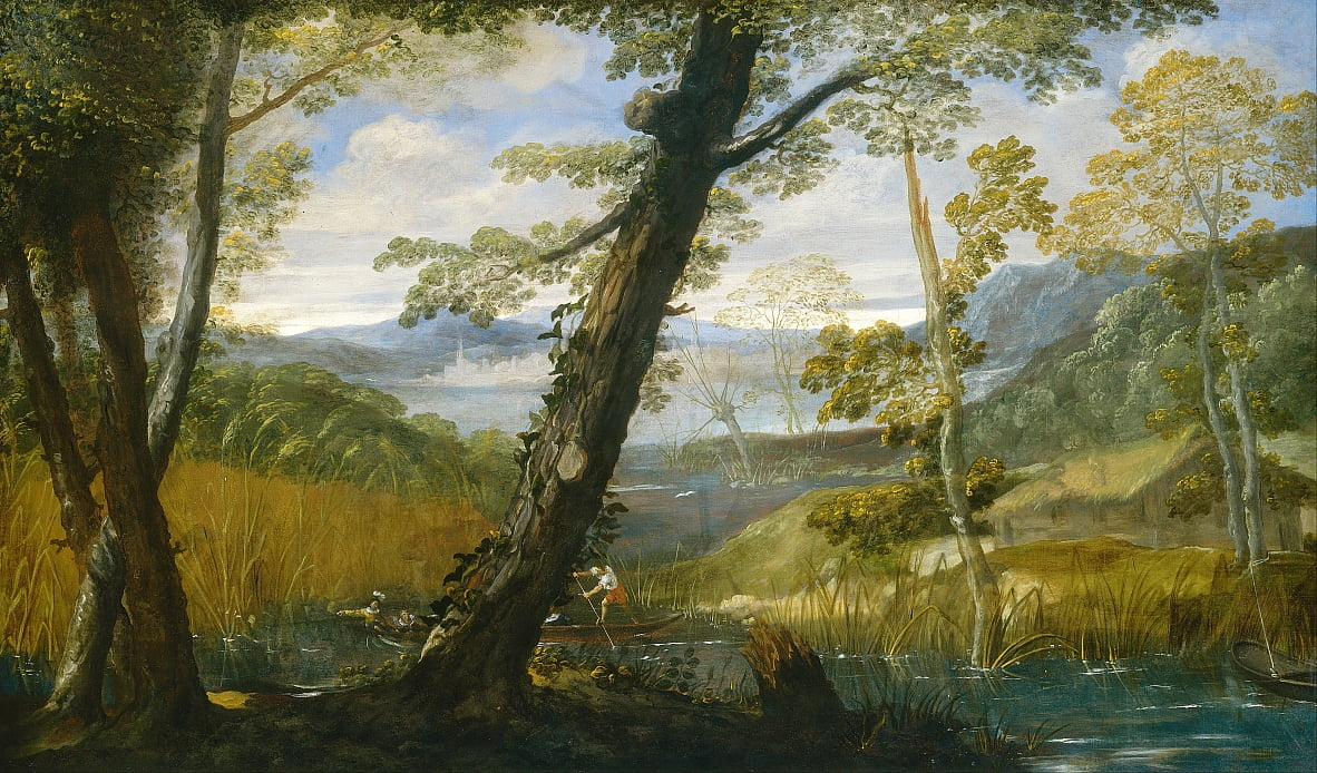 River Landscape by Annibale Carracci