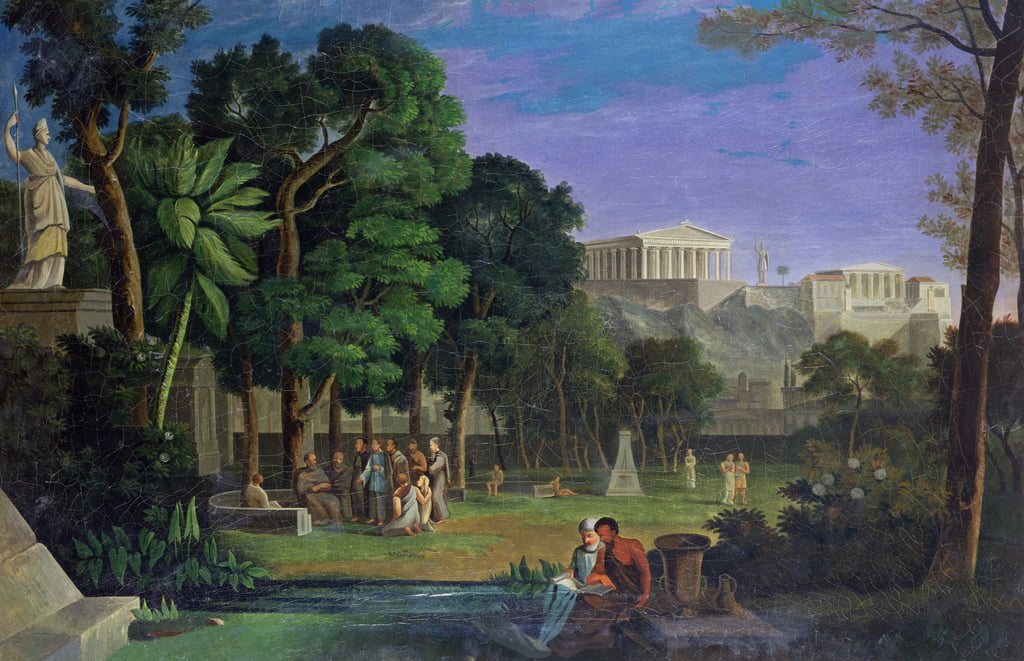 The Philosophers Garden, Athens, 1834  by Antal Strohmayer