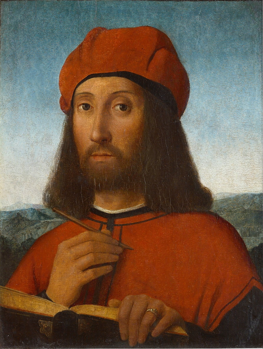 Portrait of a Man with Red Beret and Book by Antonello de Saliba