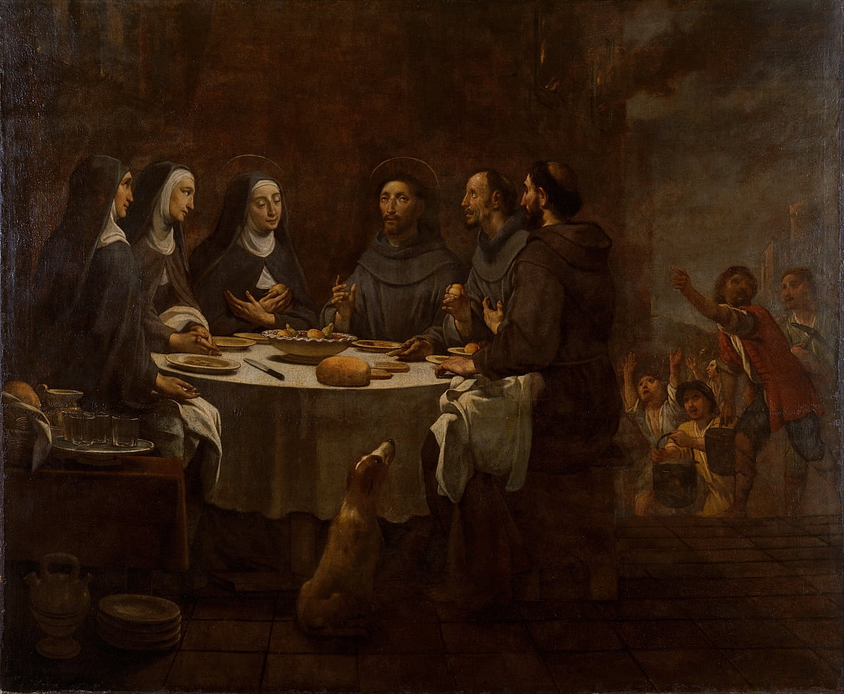 Saint Francis and Saint Clare at Supper in the Convent of Saint Damian by Antoni Viladomat