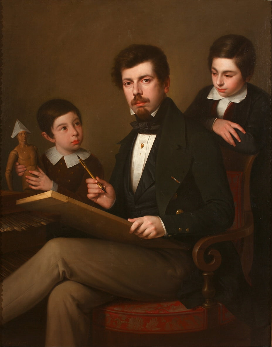 Self-portrait with his sons Carlos and Vicente by Antonio María Esquivel