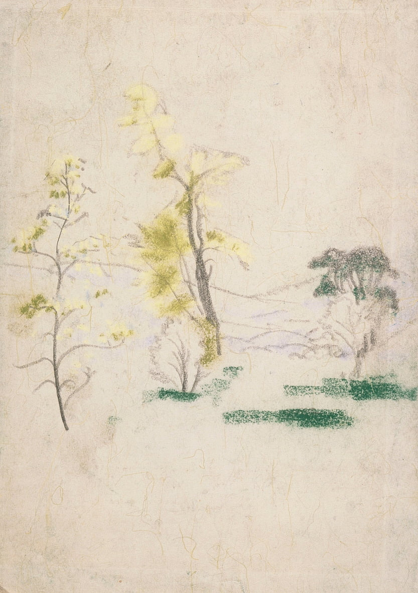 landscape with three single trees from A.B. Davies book, edition -33, 50 by Arthur Bowen Davies