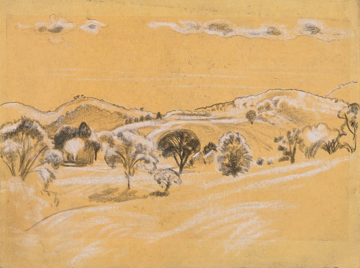 white und black chalk landscape from A.B. Davies book, edition -38, 50 by Arthur Bowen Davies