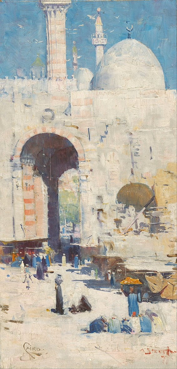 Cairo street (or Mosque, Sultan Hassan) by Arthur Streeton