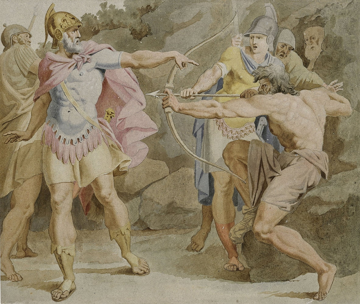 Philoctetes aiming the bow of Hercules at Odysseus by Asmus Jakob Carstens