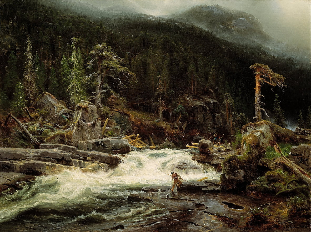 Waterfall in Telemark by August Cappelen