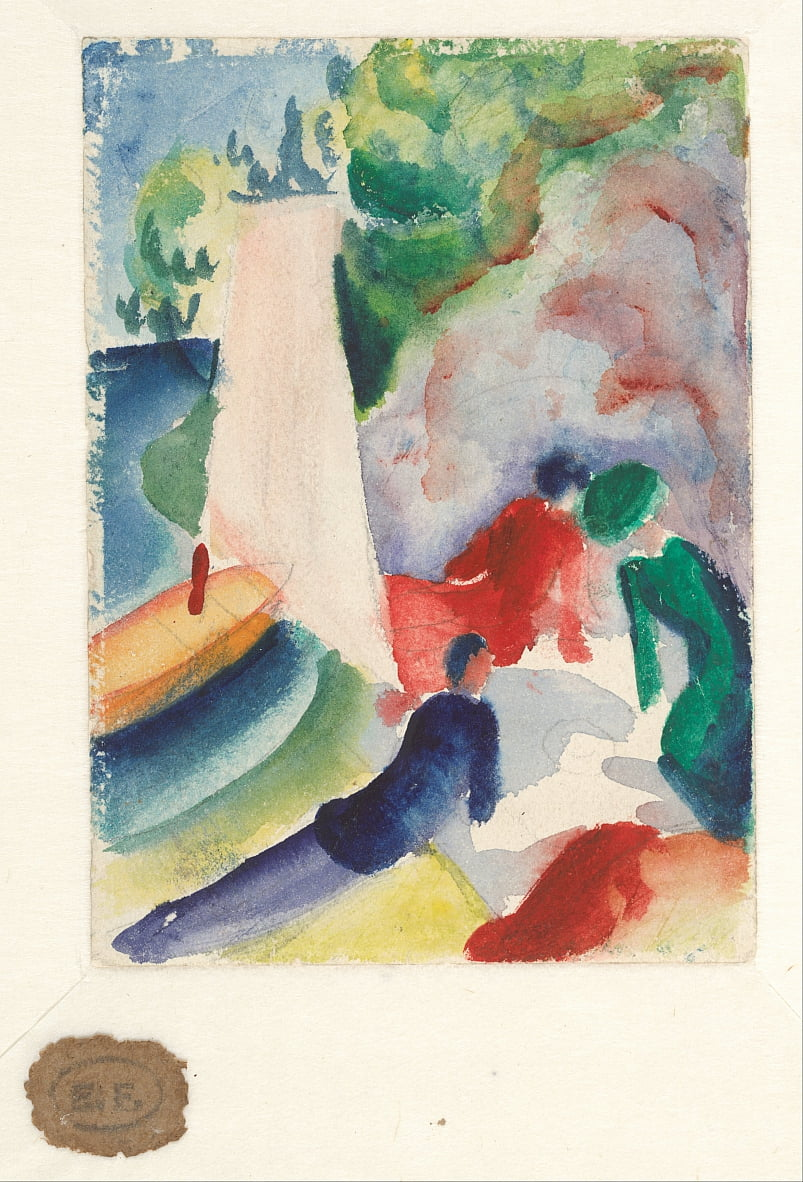 Picnic on the Beach (Picnic after Sailing), 1913 by August Macke
