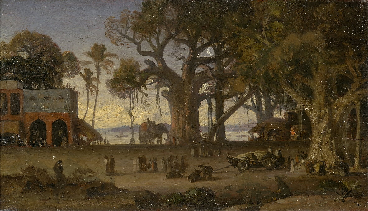 Moonlit Scene of Indian Figures and Elephants among Banyan Trees, Upper India (probably Lucknow) by Auguste Borget