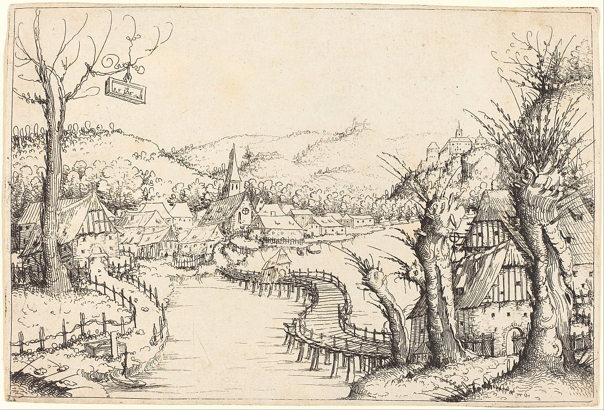 River Landscape with Wooden Bridge by Augustin Hirschvogel