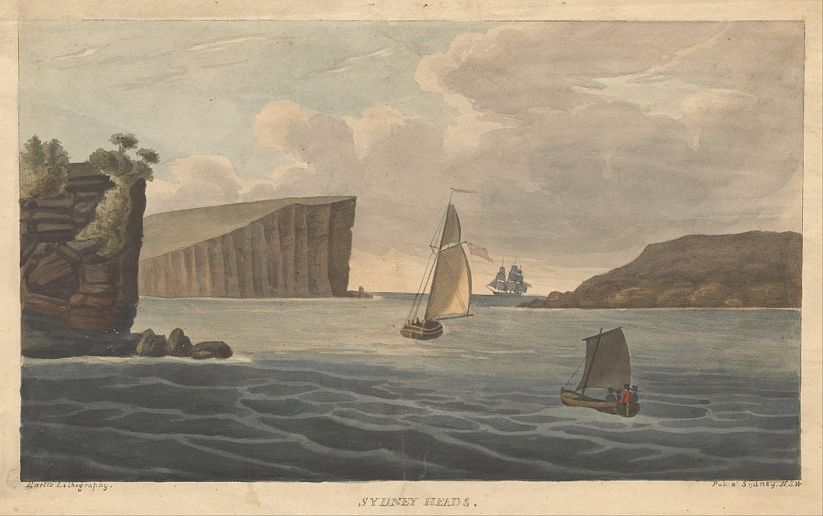 Sydney HeadsEarle, Augustus. Views in Australia. Sydney- Earle Lithography, 1826. by Augustus Earle