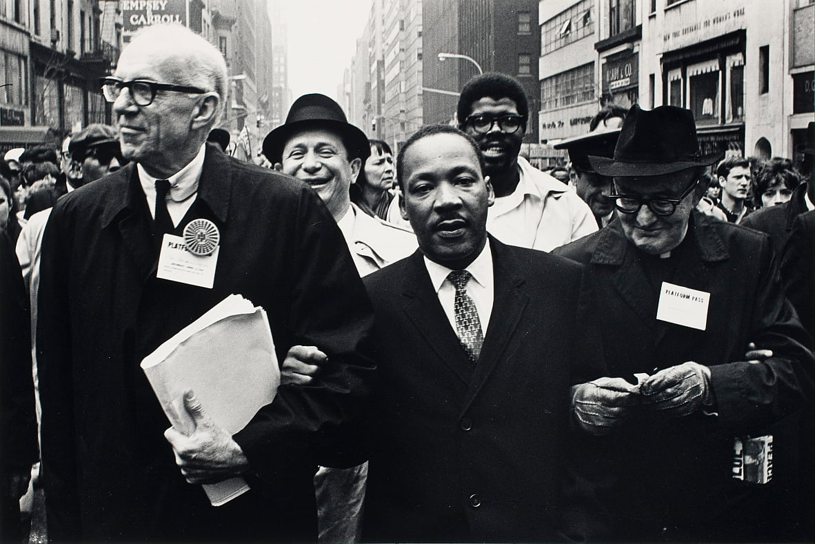 Dr. Benjamin Spock, Dr. King and Monsignor Rice of Pittsburgh march in the Solidarity Day Parade  by Benedict J. Fernandez