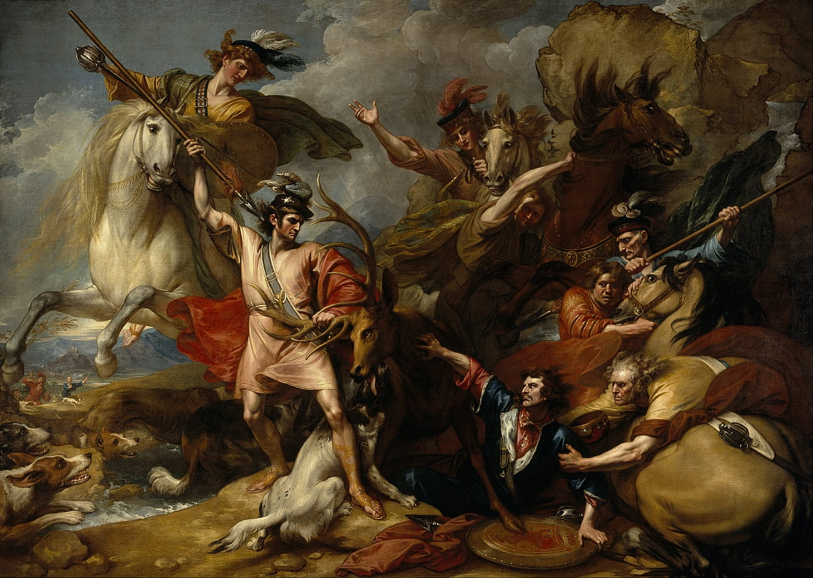 Alexander III of Scotland Rescued from the Fury of a Stag by the Intrepidity of Colin Fitzgerald (The Death of the Stag) by Benjamin West