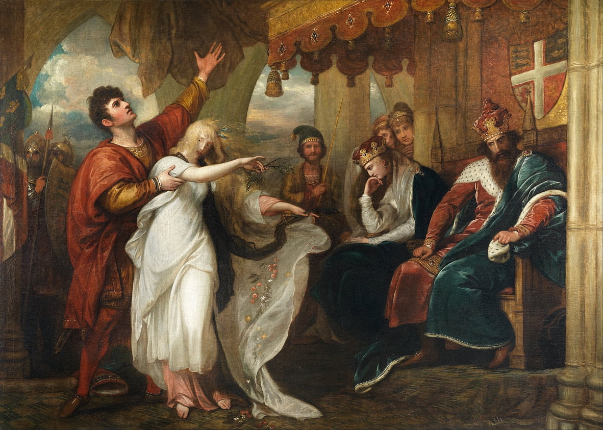 Hamlet- Act IV, Scene V (Ophelia Before the King and Queen) by Benjamin West