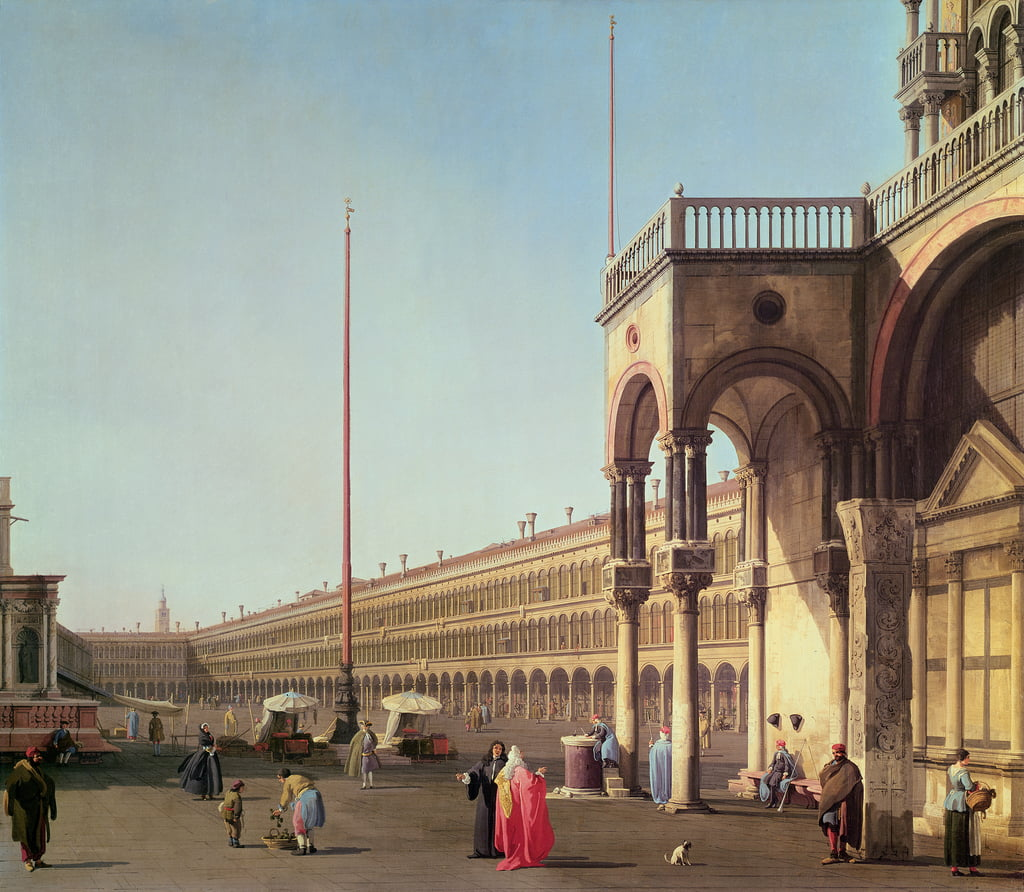 Piazza di San Marco, from the Piazzetta, in Venice  by Giovanni Antonio Canal