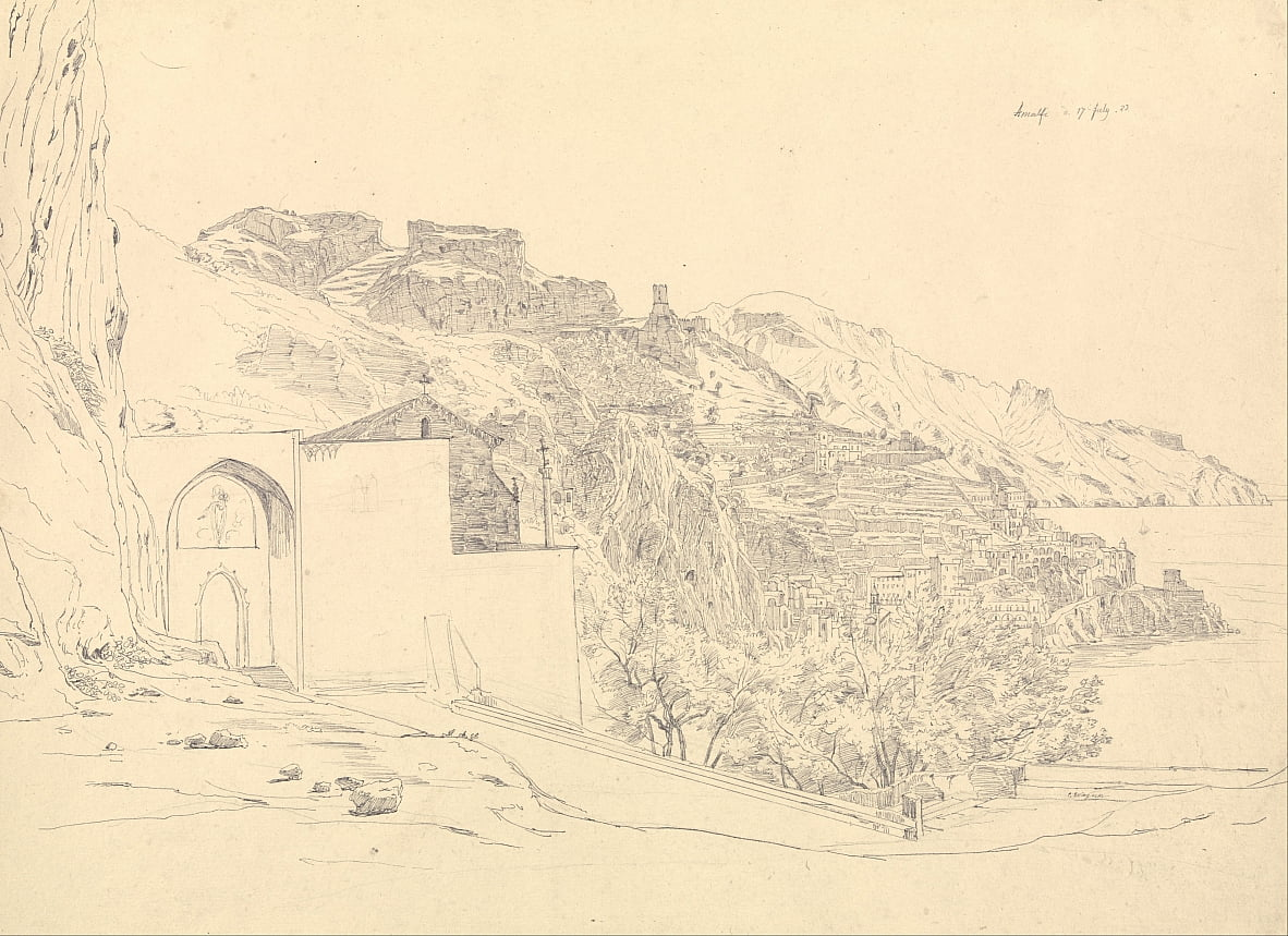 View of Amalfi by Carl Ernst Ludwig Wagner