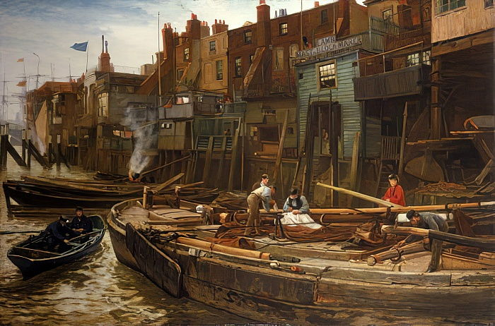 London River - The Limehouse Barge-Builders, 1877  by Charles Napier Hemy
