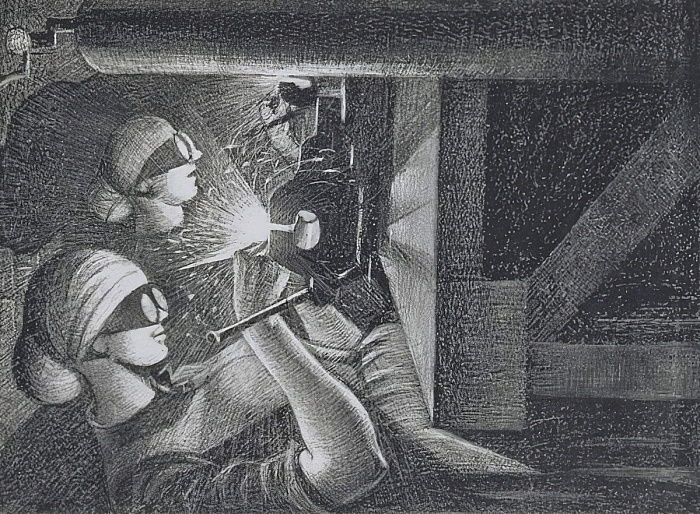 Acetylene Welders, 1917 (etching and drypoint) by Christopher Richard Wynne Nevinson