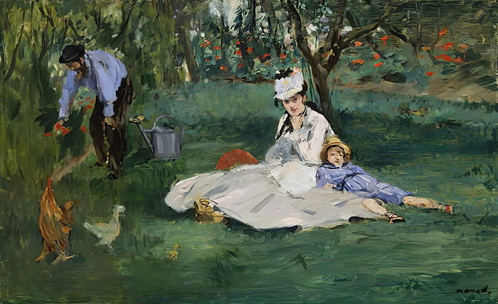 The Monet Family in Their Garden at Argenteuil, 1874  by Édouard Manet
