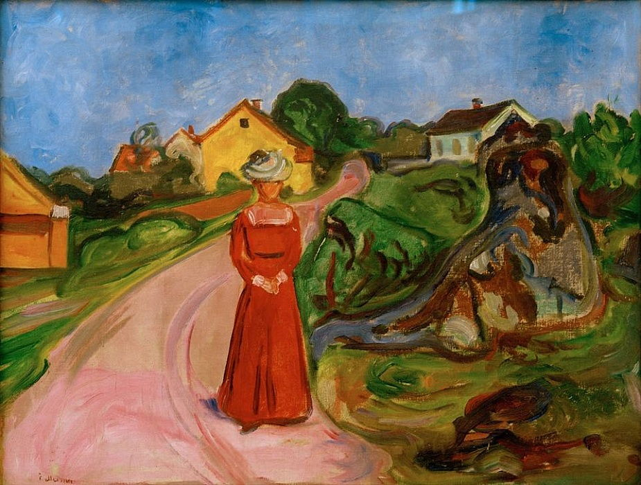 Frau in rotem Kleid (Straße in Åsgårdstrand) by Edvard Munch