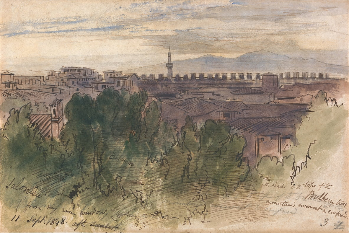 Salonica, from my Room Window, 11 Sept. 1848, after Sunset by Edward Lear