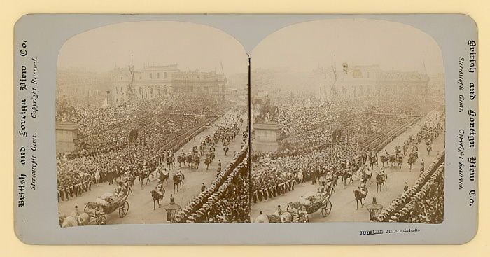 Stereographic print of Queen Victorias Diamond Jubilee  by English Photographer