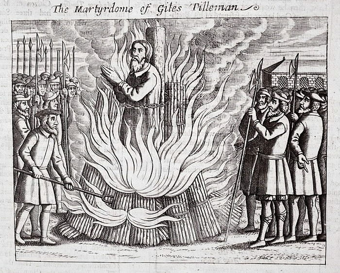 The martyrdom of Giles Tilleman, illustration from Acts and Monuments by John Foxe, ninth edition, pub. 1684  by English School